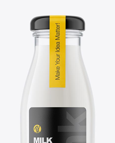 Glass Milk Bottle Mockup
