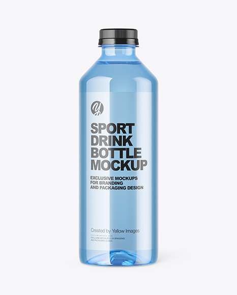 Blue Pet Water Bottle Mockup In Packaging Mockups On Yellow Images