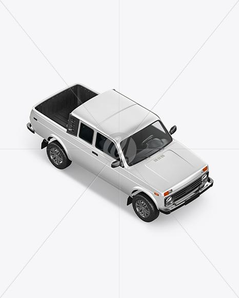 Pickup Truck Mockup - Top HalfSide View - Yellowimages Mockups