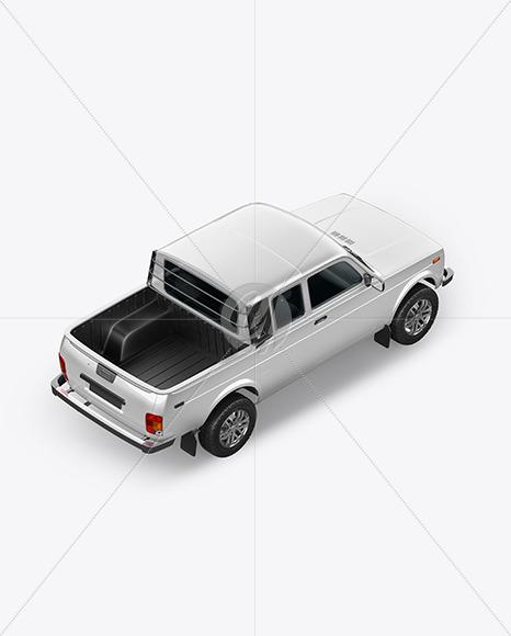 Pickup Truck Mockup - Top Back HalfSide View - Yellowimages Mockups