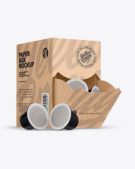 Kraft Box With Coffee Capsules Mockup In Packaging Mockups On