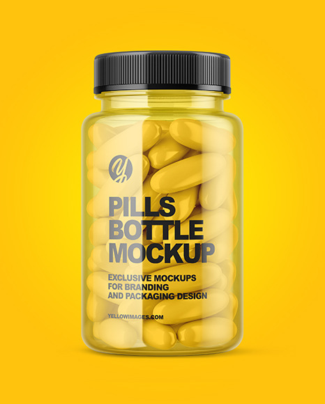 Download Clear Pills Bottle Mockup In Bottle Mockups On Yellow Images Object Mockups PSD Mockup Templates