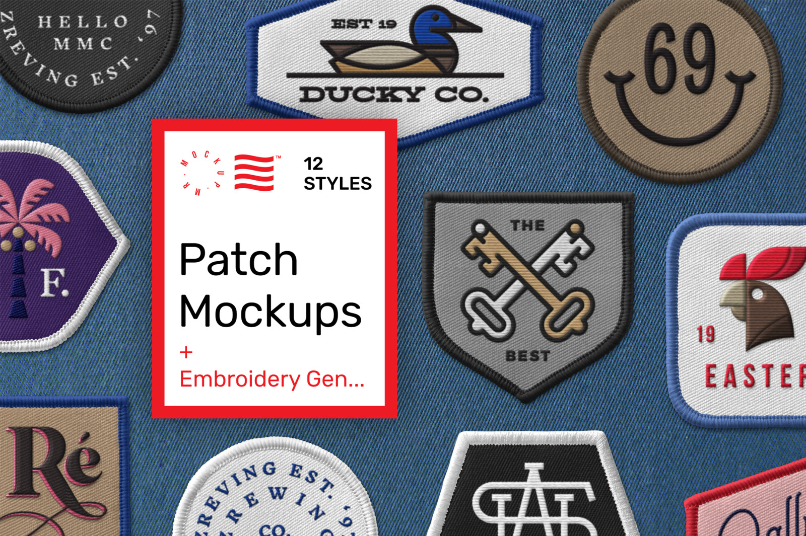 Download Patch Mockups And Embroidery Generator In Apparel Mockups On Yellow Images Creative Store PSD Mockup Templates