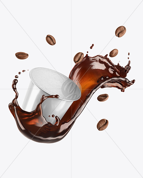 Coffee Capsule With Coffee Splash And Beans Mockup