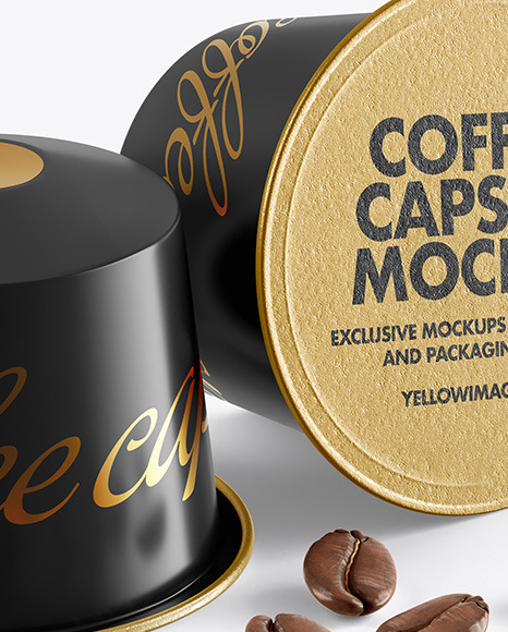 Download Two Coffee Capsules With Coffee Beans Mockup In Packaging Mockups On Yellow Images Object Mockups PSD Mockup Templates