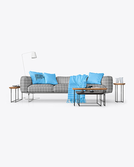 Sofa Cover and Throw Pillows Set Mockup