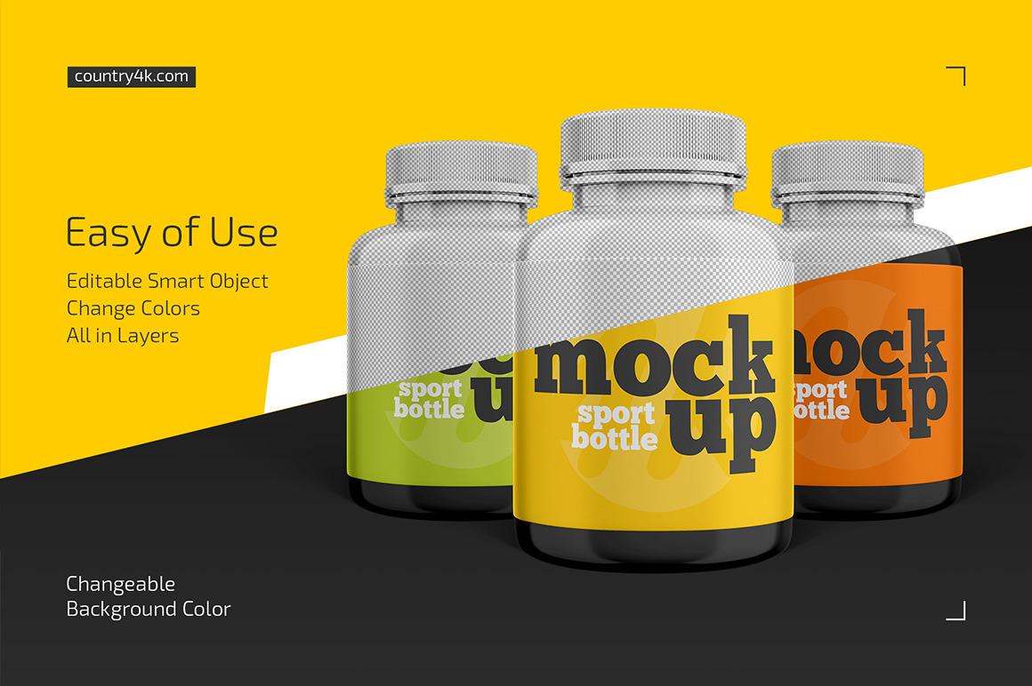Sport Bottle Mockup Set In Packaging Mockups On Yellow Images