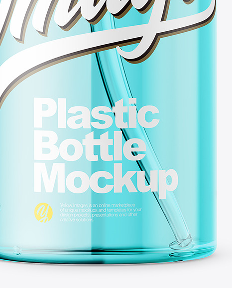 Transparent Plastic Bottle with Pump Mockup - Front View