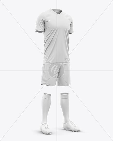 Men's Full Soccer Kit with V-Neck Jersey Mockup - Hero Shot