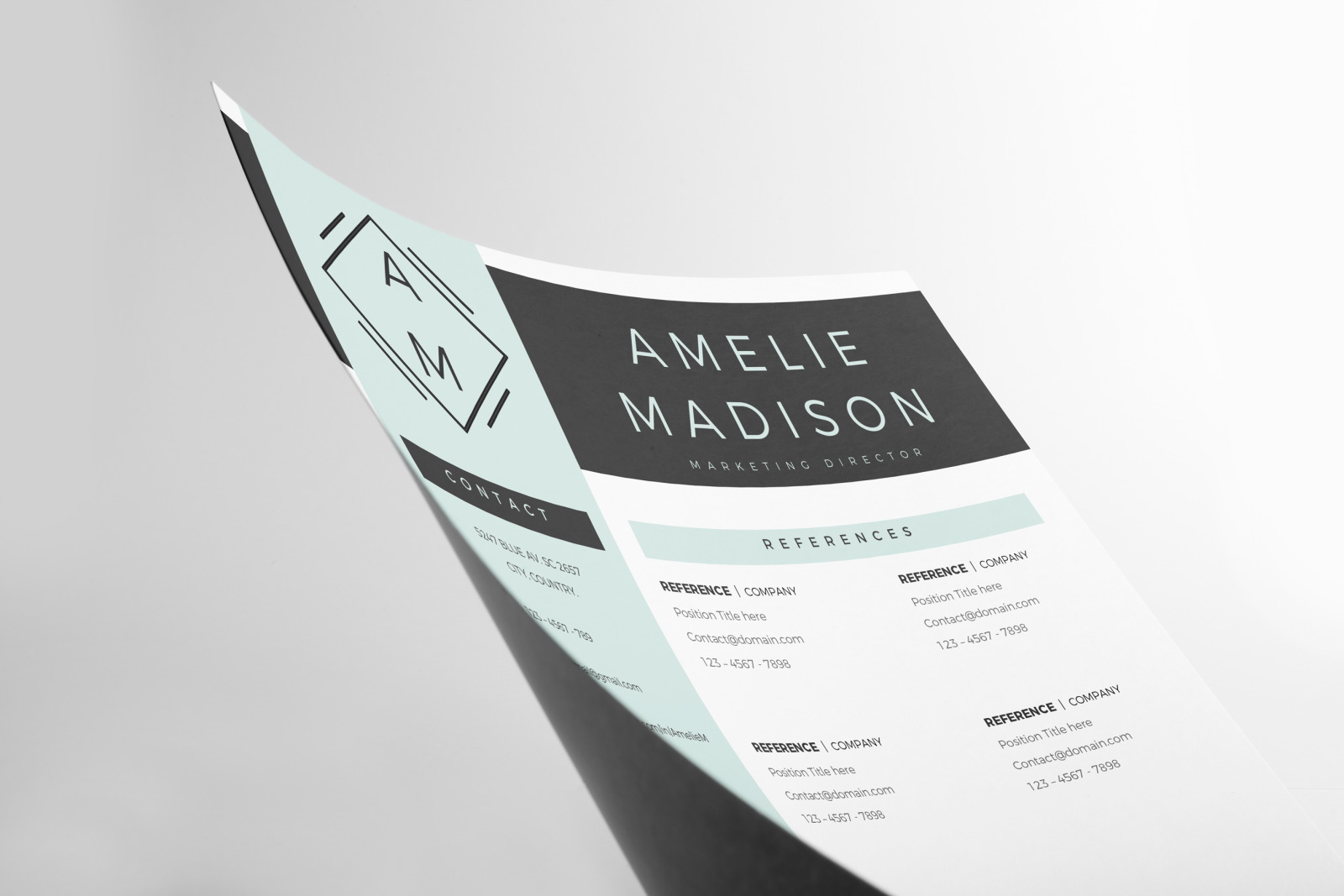 Marketing Resume Template for MS Word & Pages. Resume with logo + Cover Letter format + References