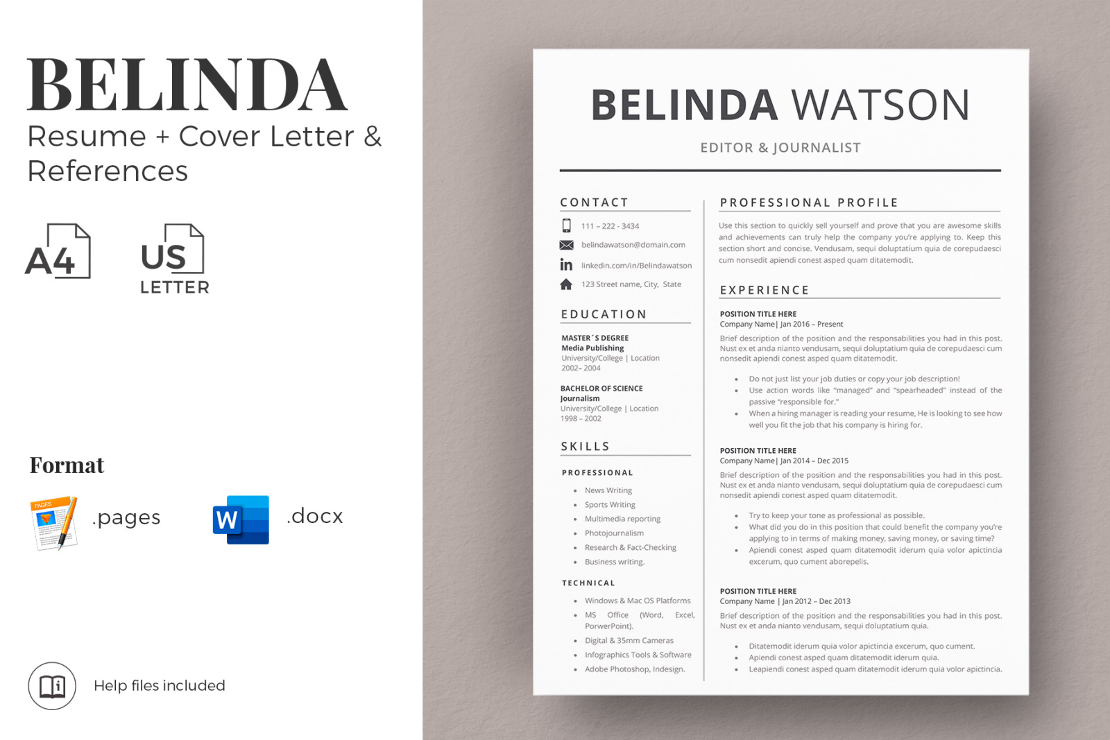 Professional And Modern Resume Template Instant Download Resume