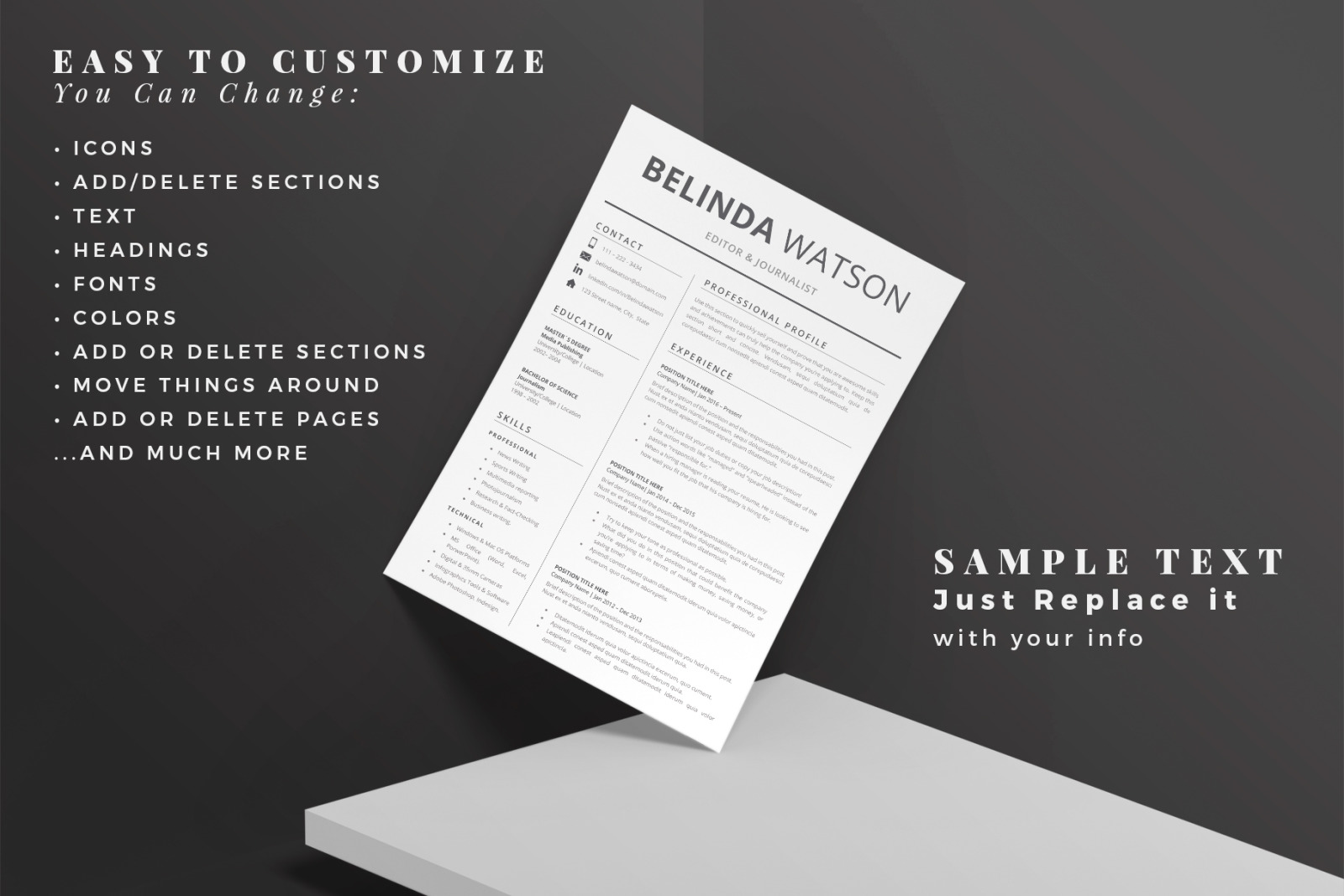 Professional and Modern Resume template. Instant download Resume Design + Cover Letter + References