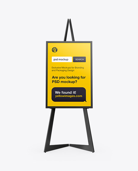 Easel With Frame Mockup Front View In Indoor Advertising Mockups On Yellow Images Object Mockups