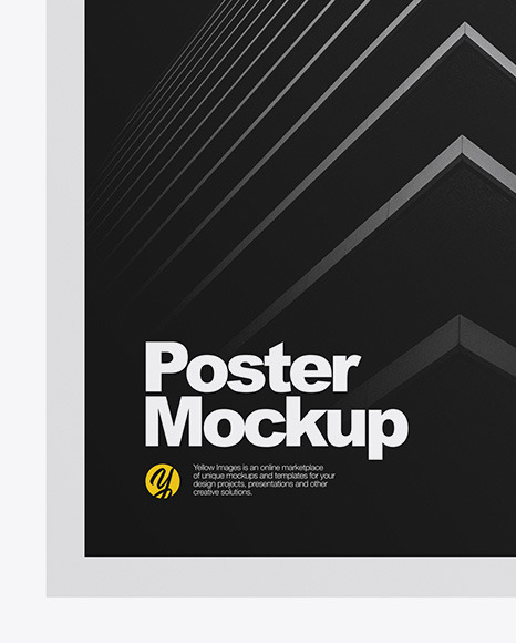 Paper Poster Mockup In Stationery Mockups On Yellow Images Object