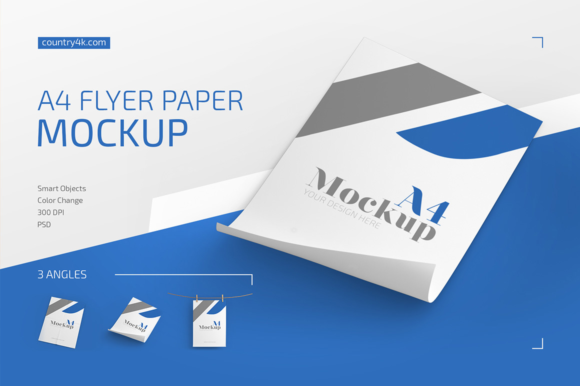 A4 Flyer Paper Mockup Set In Stationery Mockups On Yellow Images