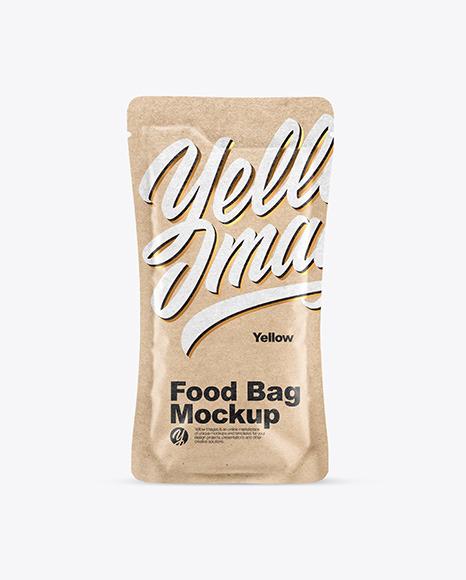 Kraft Food Bag With Nuts Mockup