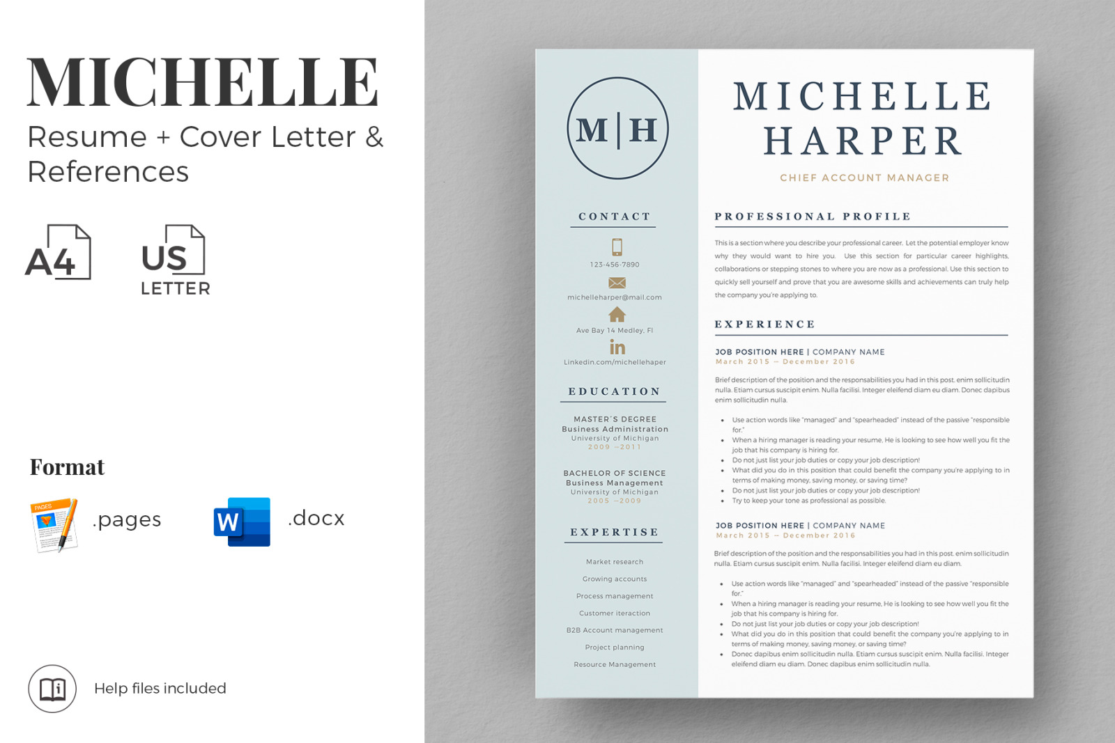 Professional Resume Cv Template With Logo And Modern Cover