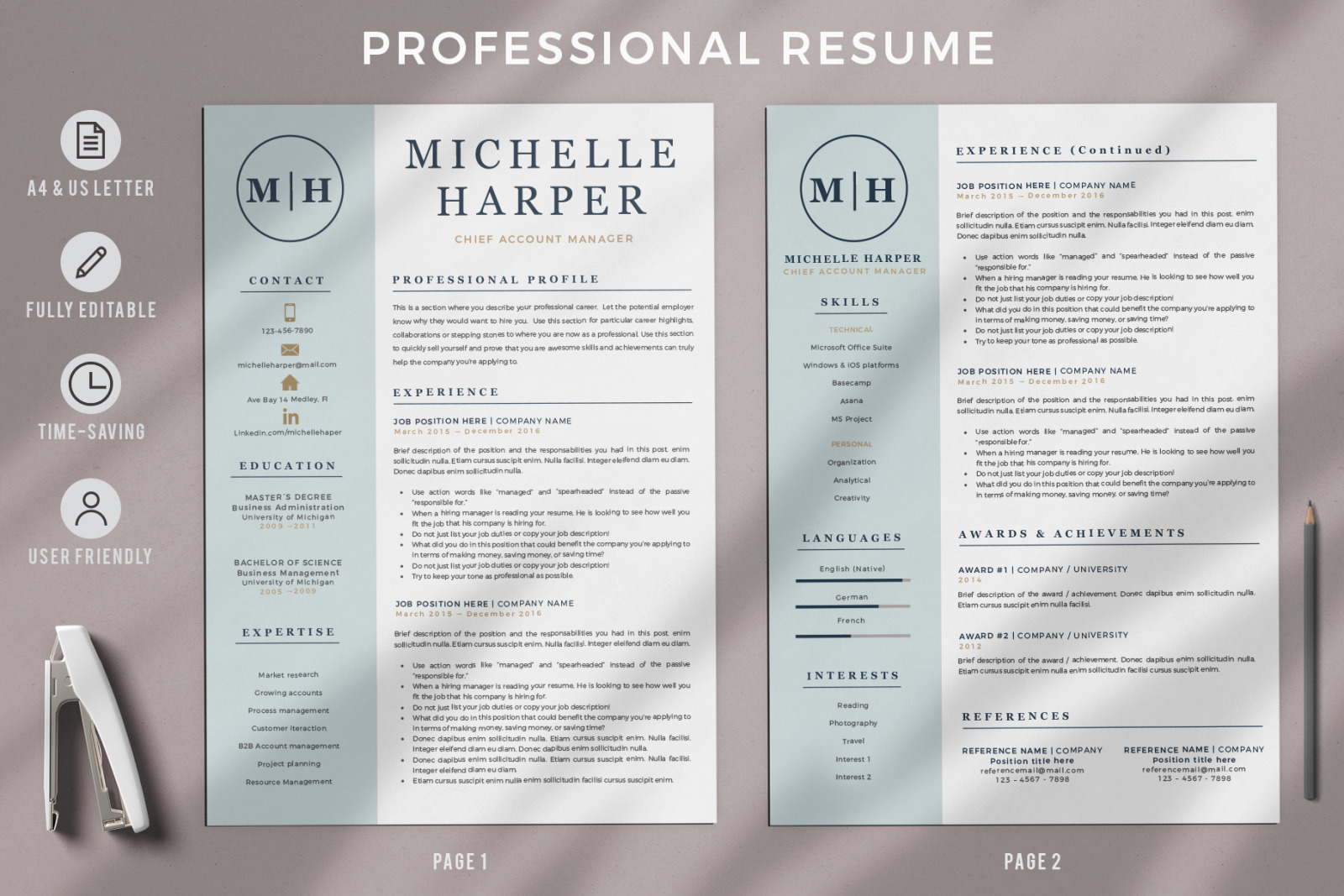 Professional Resume Cv Template With Logo And Modern Cover Letter