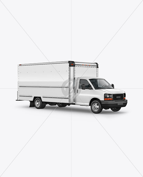 Box Truck Mockup - HalfSide View - Yellowimages Mockups