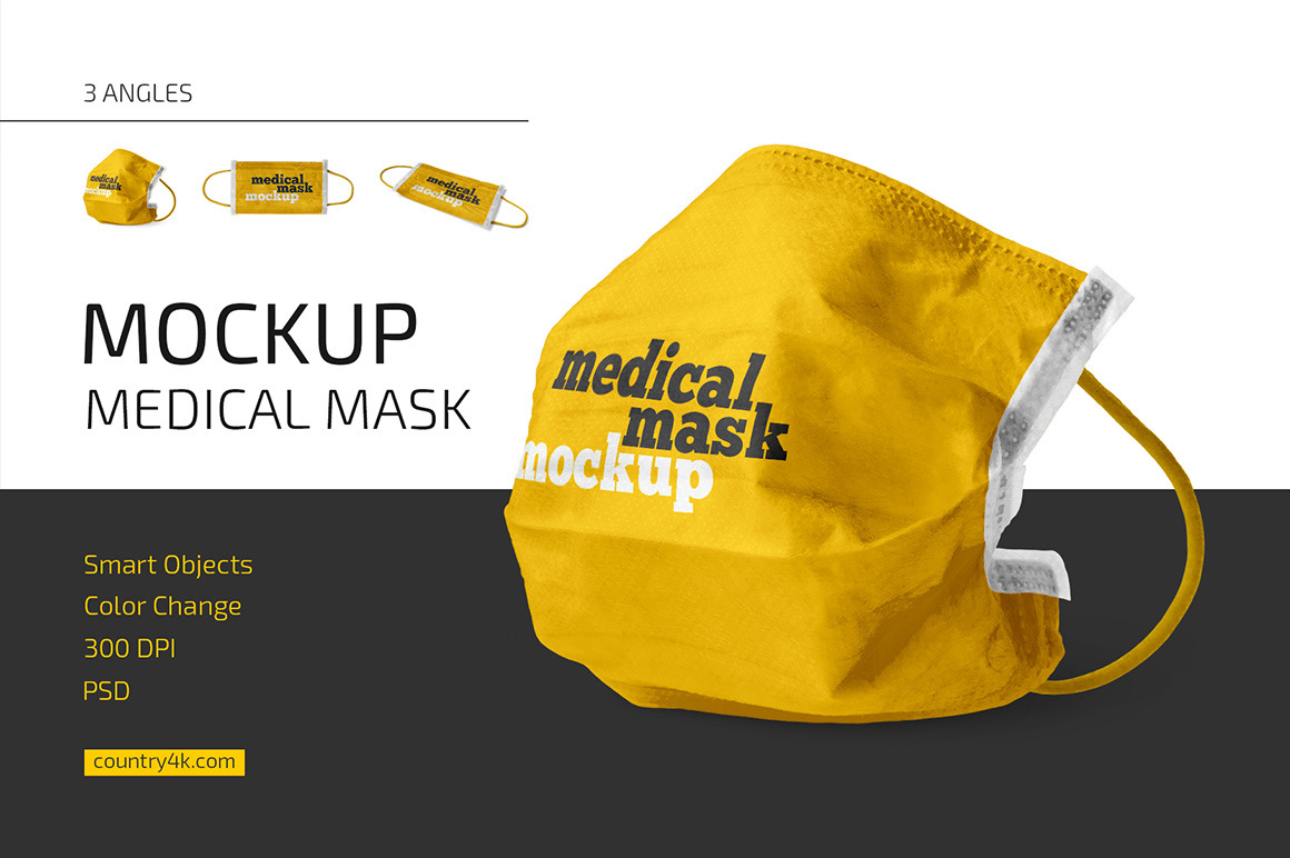 Medical Mask Mockup Set In Apparel Mockups On Yellow Images