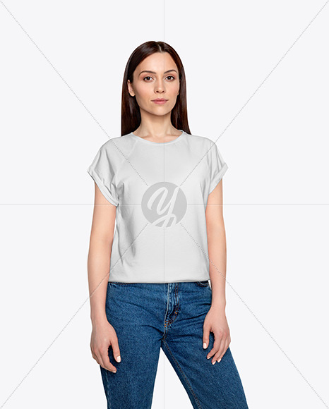 Woman in T-Shirt Mockup