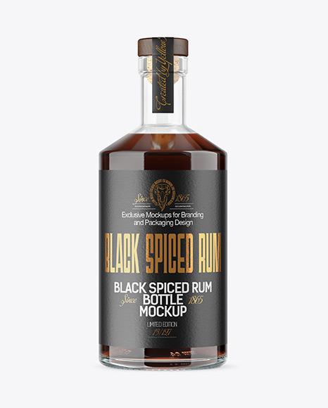 Black Rum Bottle Mockup