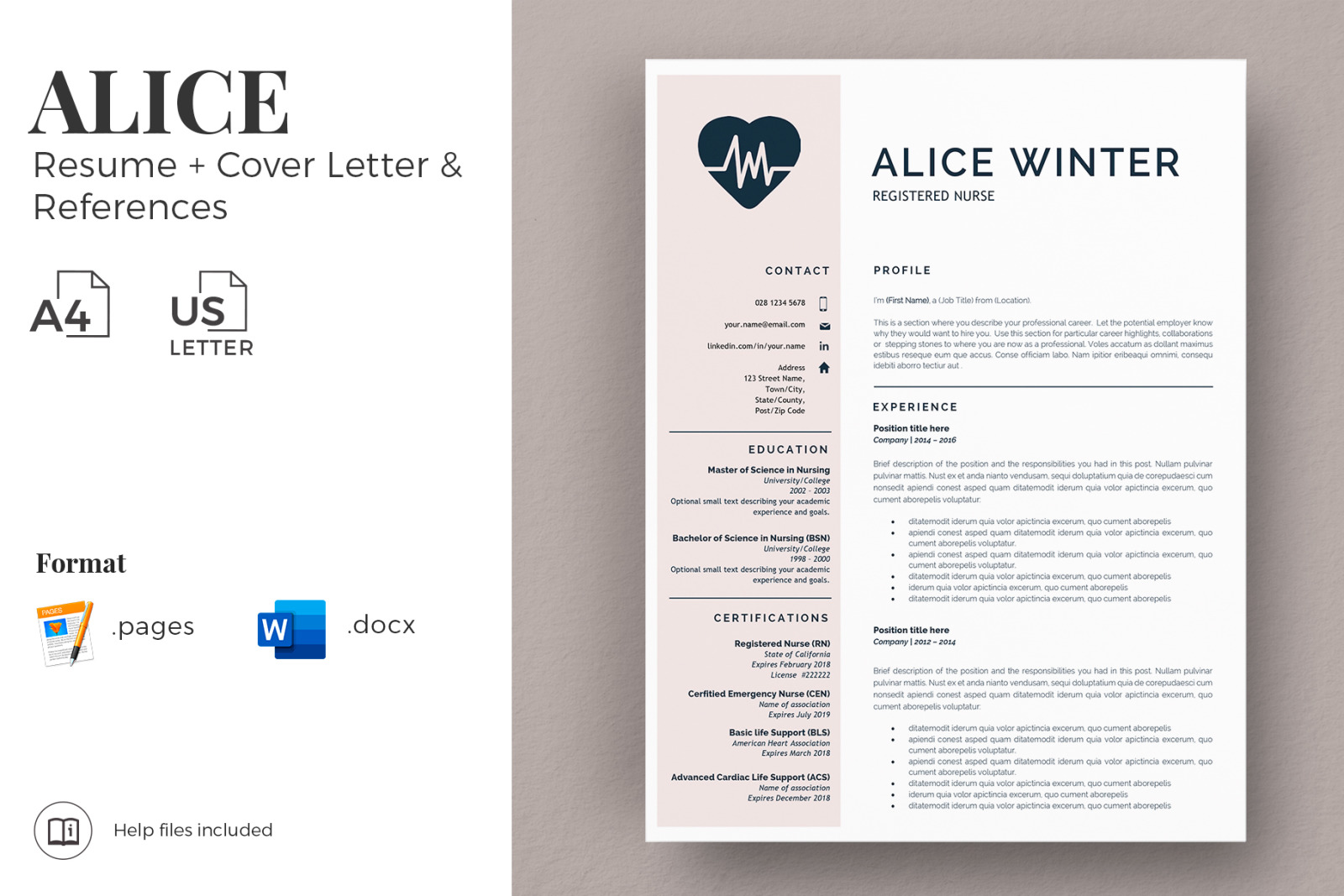 Rn Nurse Resume Template Registered Nurse Resume Cover Letter And References Nursing Resume Cv In Resume Templates On Yellow Images Creative Store