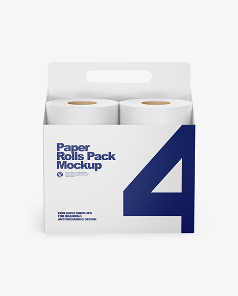 Toilet Tissue Rolls Pack Mockup - Front View