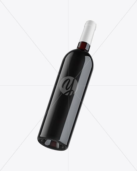 Fly Green Glass Red Wine Bottle Mockup