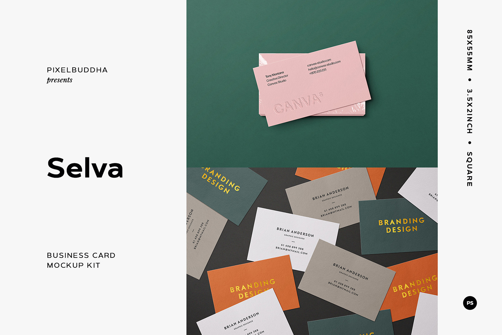 Selva Business Card Mockup Kit In Stationery Mockups On Yellow