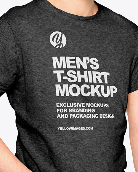Man In A T Shirt Mockup In Apparel Mockups On Yellow Images Object