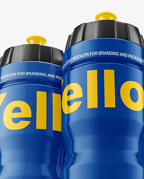Three Glossy Sport Bottles Mockup In Bottle Mockups On Yellow