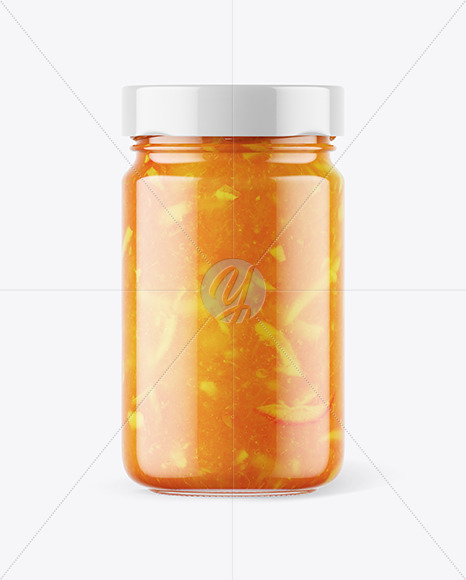Download Clear Glass Jar With Orange Jam Mockup In Jar Mockups On Yellow Images Object Mockups PSD Mockup Templates