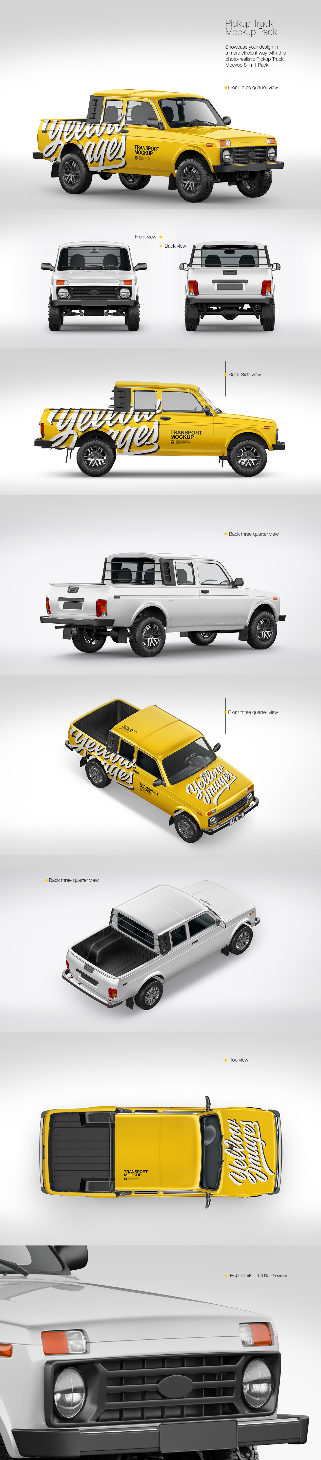 Download Pickup Truck Mockup Pack In Handpicked Sets Of Vehicles On Yellow Images Creative Store PSD Mockup Templates