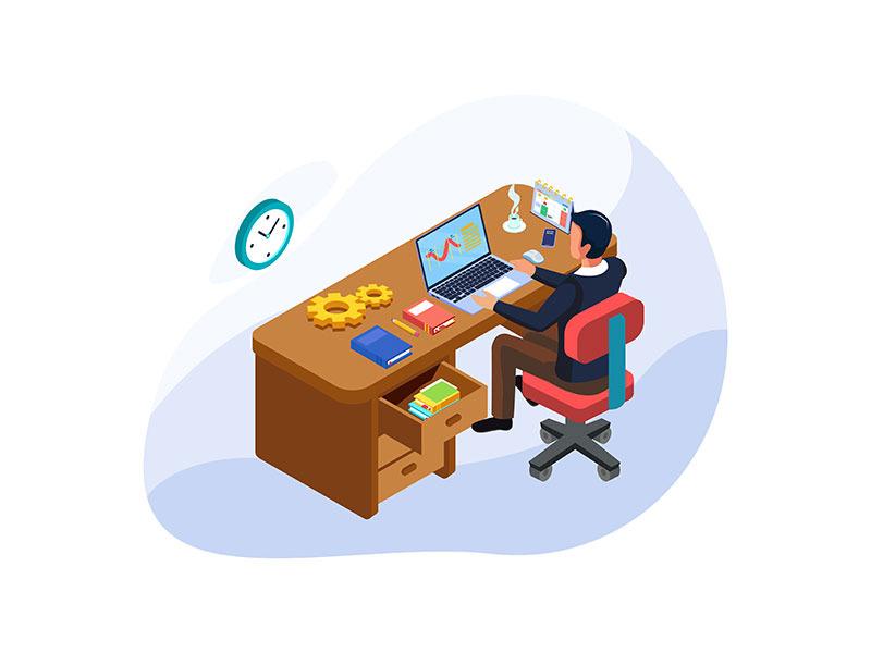 Set of Isometric Time Management Illustration