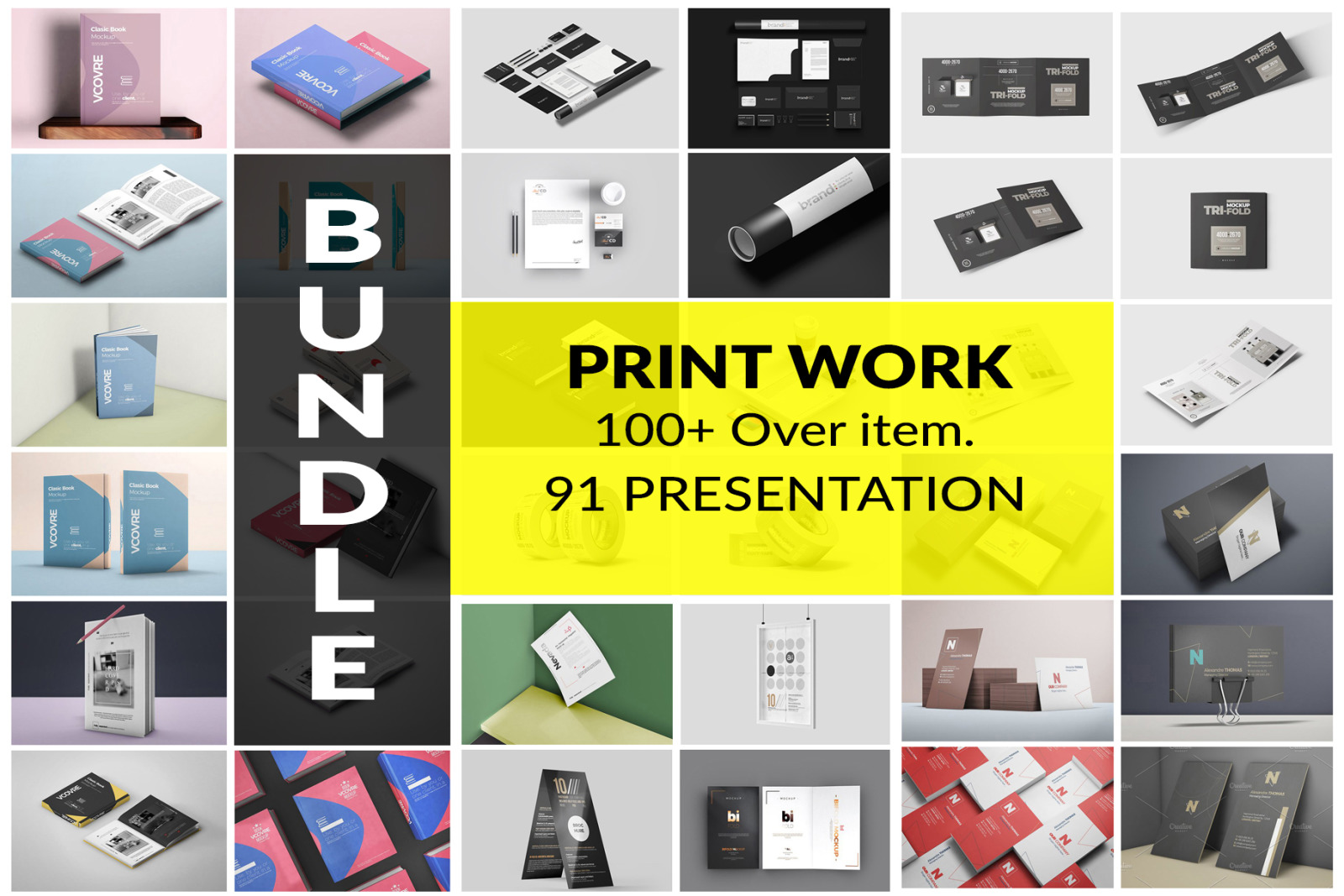 Download Print Work Bundle In Stationery Mockups On Yellow Images Creative Store PSD Mockup Templates