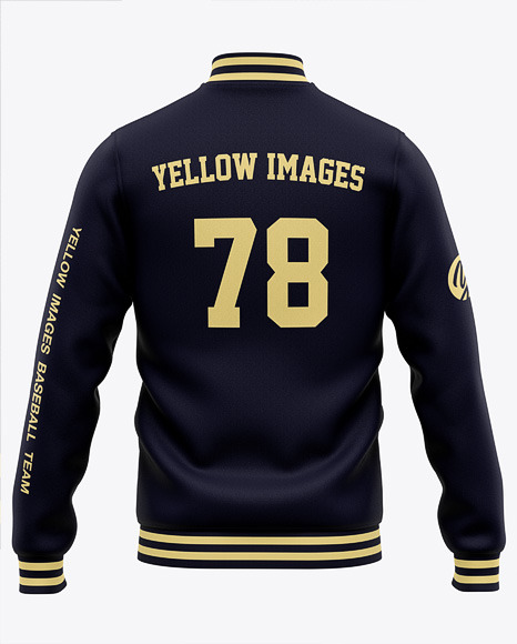Men's Varsity Jacket Mockup - Back View