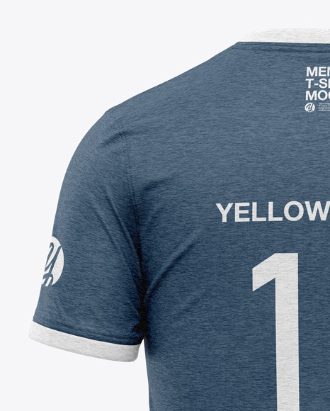 Download Mens Heather Double Layer Long Sleeve T Shirt Mockup Back View Yellow Images