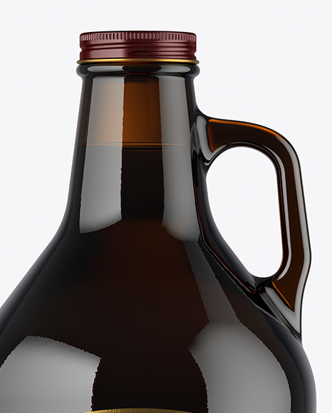 32 oz Dark Amber Glass Bottle With Dark Beer Mockup