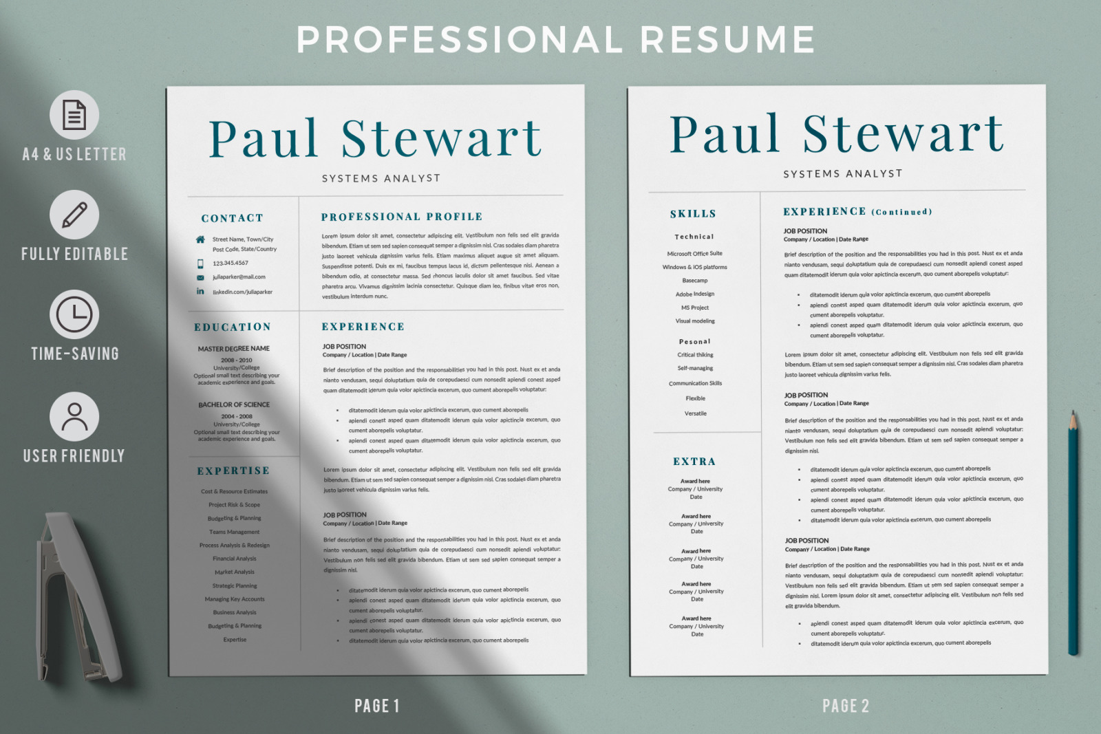 professional resume for word and pages  resume   cover