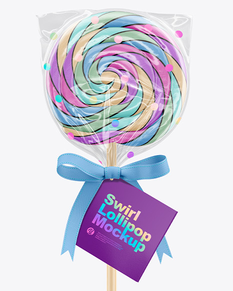 Swirl Lollipop with Bow and Label Mockup