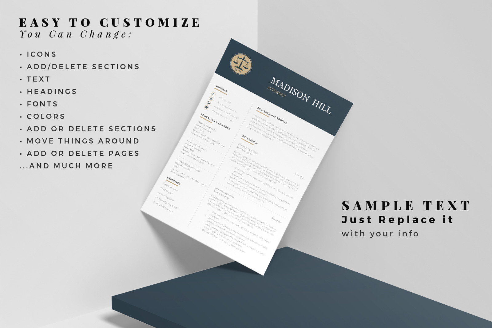 Attorney Resume, CV. Lawyer Resume Template + Legal Cover ...