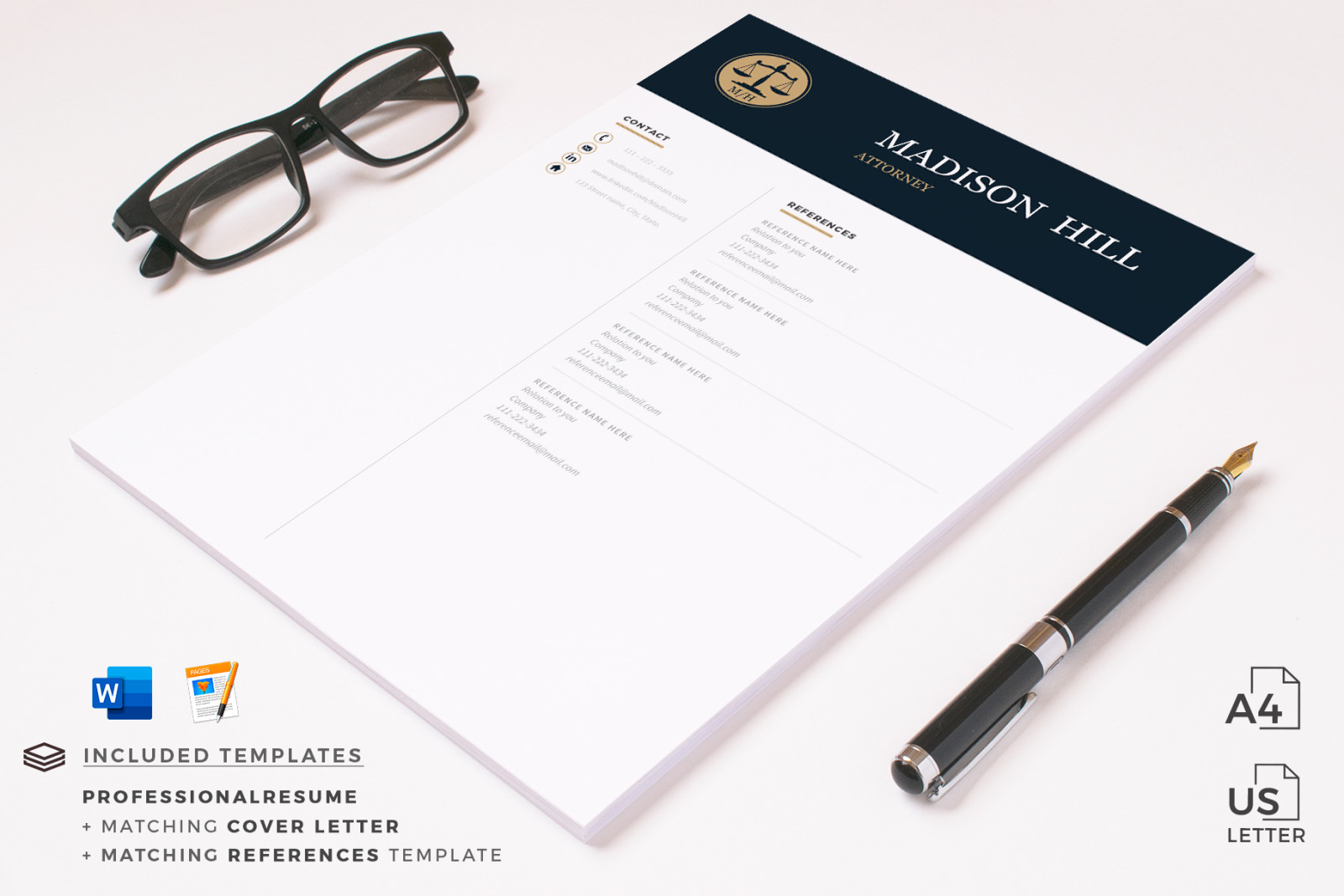 attorney resume  cv  lawyer resume template   legal cover