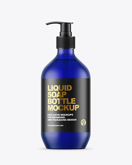 Frost Blue Liquid Soap Bottle with Pump Mockup