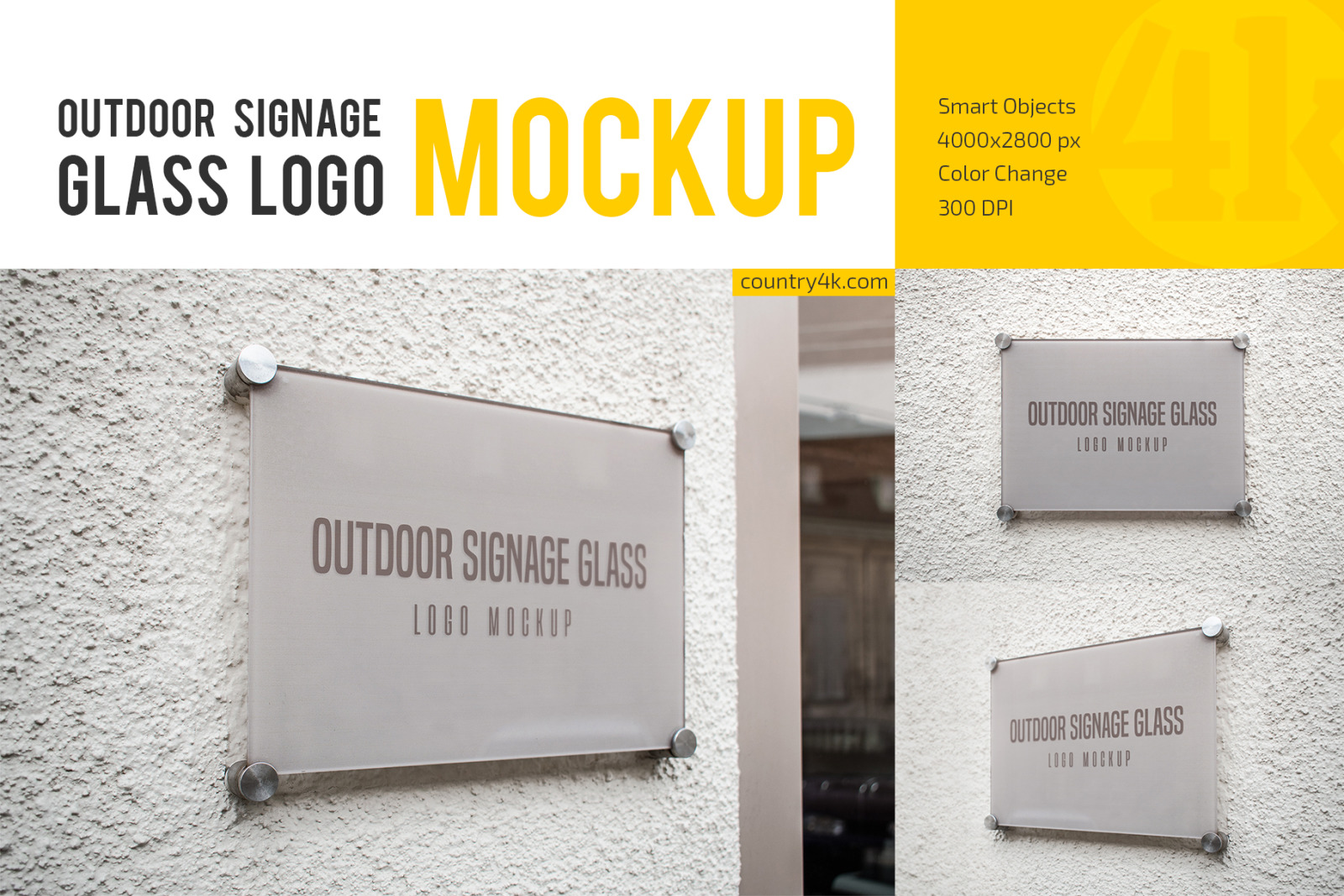Outdoor Glass Signage Logo Mockup Set In Product Mockups On