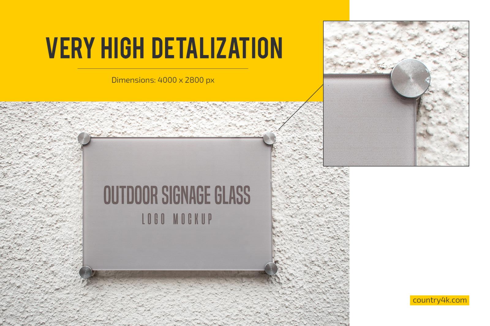 Outdoor Glass Signage Logo Mockup Set