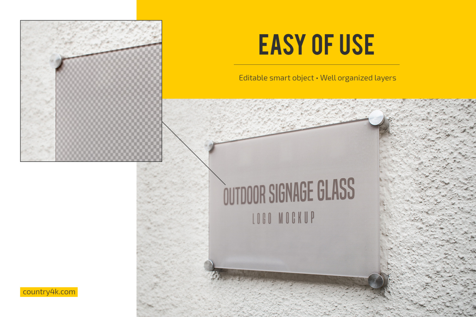 Outdoor Glass Signage Logo Mockup Set In Product Mockups On Yellow