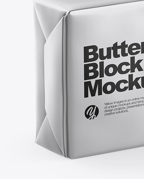 Metallic Butter Block Mockup - Half Side View