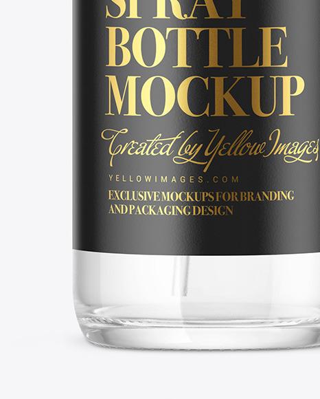 Clear Glass Spray Bottle Mockup