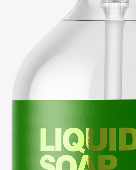 Clear Liquid Soap Bottle with Pump Mockup
